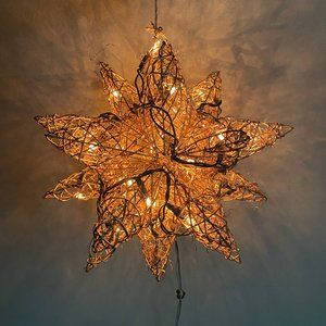 Lighted Grapevine Gold Moravian Star - 12""